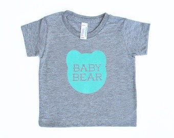 Baby Bear Infant TriBlend Athletic Heather Grey TShirt with Aqua Blue Print