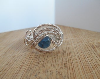 Sterling Silver Blue Kyanite Eye Ring Wire Wrap Ring bead Wire Wrapped Ring Size 10 Wire Wrapped Jewelry Handmade
