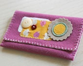 felt wallet // plum with flower