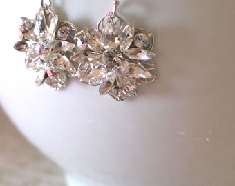 Swarovski Wedding Earrings, Silver Crystal Flower Earrings, Unique Bridal Earrings, Wedding Jewelry