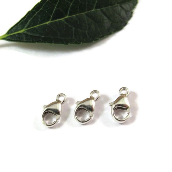 3 Silver Clasps, Three .925 Sterling Silver 9mm Lobster Claws, Set of 3 Silver Findings, Jewelry Supplies (F 117s)