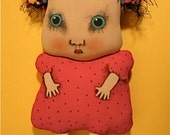 ooak art doll- weird little girl-  hand painted doll- euc- -  odd doll- Christmas Carol- red dress