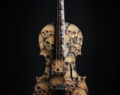 Skull Violin, carved skull violin, memento mori, dayofthedead, day of the dead, carved vioin, skull carving