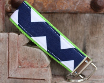 Key Chain-Key Fob- Wristlet -Navy zig zag On Lime-READY TO SHIP