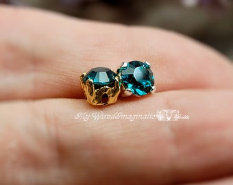 2 Pcs Blue Zircon Swarovski Elements Crystal 29ss 6mm Sew On Settings Crystal Sew On Craft Supplies Jewelry Making December Birthstone