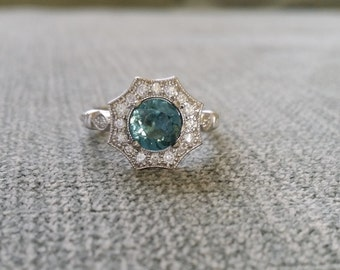Halo Teal Spinel Diamond Ring Gemstone Engagement Ring Antique Flower Grey Blue  Green Octagon Round 14K White Gold Vintage