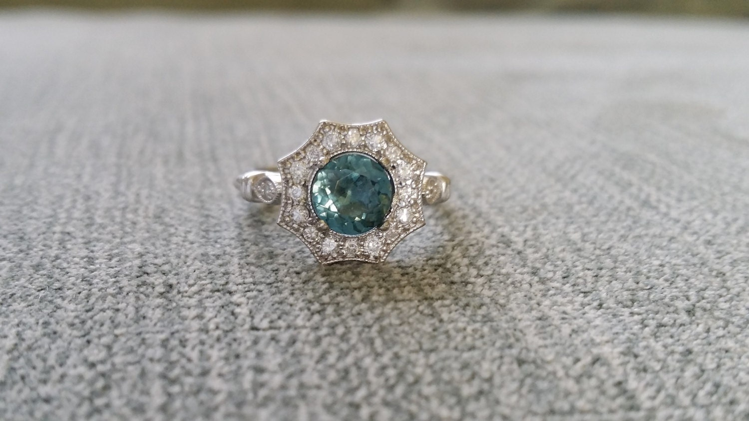 Halo Teal Spinel Diamond Ring Gemstone Engagement Ring Antique