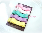 Spring Baby Bow Hair Clips / Baby Clips Perfect Pastel Baby Bow No Slip Snap Clips/Set of 5 Pink, White, Yellow, Blue and Purple