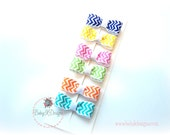 Six Newborn Chevron Bright Color Bow / Baby Bow Snap Clips / Girls 6 Pack Spring Chevron Bows / No Slip Hair Clips / For nearly bald babies