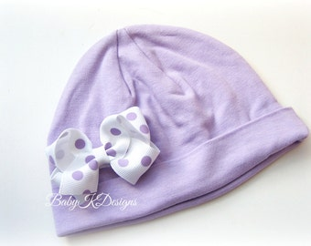 """Infant Beanie hat Small 2.5"""" Baby Bow  Newborn Beanies Baby Beanie / Girls Hat / Lilac/Light Purple Cotton Beanie/Hat and Bow TWO SIZES"""