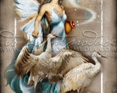 Art Retirement SALE / Aquarius / Fairy pictures / ZODAIC Fairy /  Fantasy Art / Fairy Art