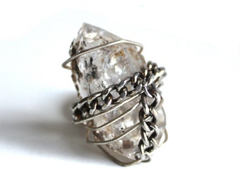 Herkimer Diamond in the Rough Ring that Rocks size 6