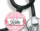 Stethoscope ID Tag - Personalized Name - Damask - Choice of Colors - Steth Tag
