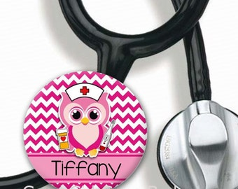 Steth Tag - Personalized Name Owl Nurse - Choice of Colors - Cute Stethoscope Tag