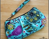 Birds and Flowers Wristlet