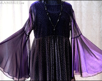 One of a Kind Shimmering Purple, Black and Gold Shadowen Blouse by Kambriel - Brand New & Ready to Ship!