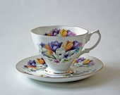 tulip flowers bone china cup & saucer set yellow and purple flower buoquet