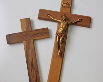 2 vintage wood cross religious wall decor