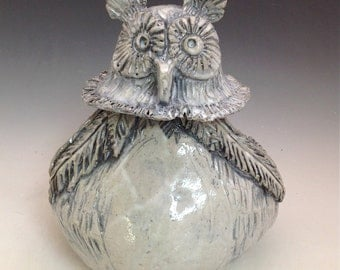 Pottery Owl Jar with Lid