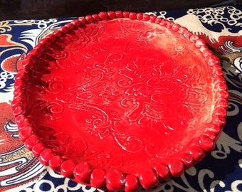 Pottery Plate Red Damask Hand built with Clay Candle-Wicking