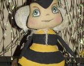"Primitive Bumble Bee Pattern ""Honey Wee"" instant download.  (HAFAIR)"
