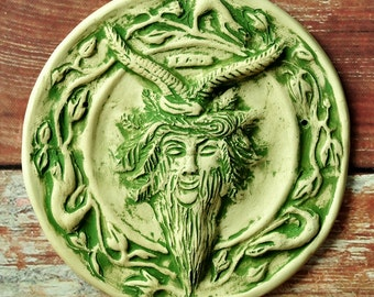PAN Wall Plaque - Historical Hand Sculpted Bas Relief Tile with Green Wash Over White - Pagan Home Decor