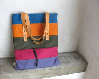 Canvas Tote Bag Natural Leather Straps Turquoise Orange Army Green Crimson Stripes SALE