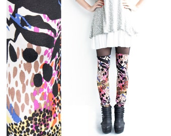 Printed Leggings, Faux Thigh High, Womens Leggings,Thigh High Leggings, Rainbow Leggings, Leopard Print Pants, Sheer, Norwegian Wood