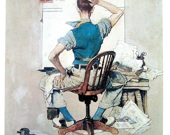The Artist - Large Norman Rockwell Poster Sized Print - 1977 Vintage Book Page - 15 x 12