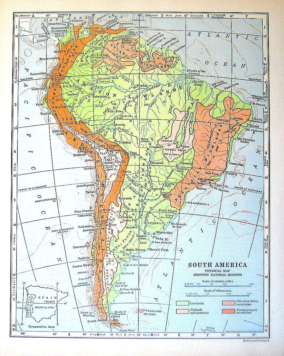 1920 map of south america physical map showing natural for Atlas natura