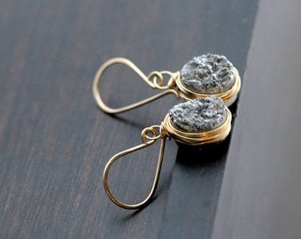 Druzy Gold Earrings, Gray Dangle Bezel Wrapped Oval Drops In 14k Gold Filled, Gifts For Her