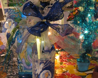 Snow Queen art By Tessimal Light in a Bottle Decoration Center Piece for the Holidays