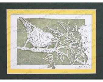 Yellow Warbler Papercutting- Handcut Original