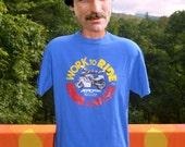 vintage t-shirt BIKER work to ride motorcycle riderwear tee shirt Large royal blue