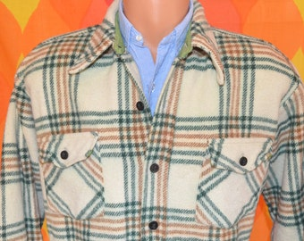 vintage 70s shirt wool PLAID lumberjack hunting button down jacket Medium Large ranch preppy