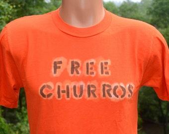 vintage 80s t-shirt FREE CHURROS fun orange handmade funny Small Medium latino mexican