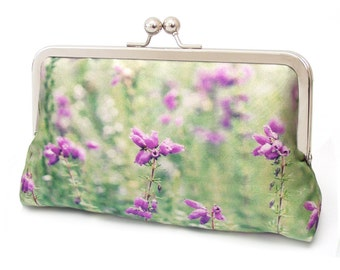 Pink heather clutch bag, silk purse, pink flowers, wedding purse, flower clutch, bridesmaid gift, Scottish highlands