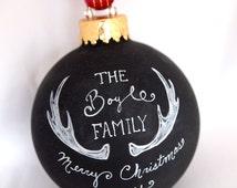 Custom Chalkboard Family Ornament - Antlers