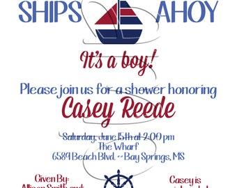 Printable Chevron Sailboat Baby Shower Invitation