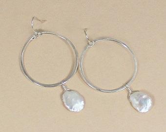 Silver Hoop Earring, Keshi Pearl Hoops, Beachy Earrings, Large Keshi Pearls, Beach Wedding Jewelry, Unique Gifts for Her