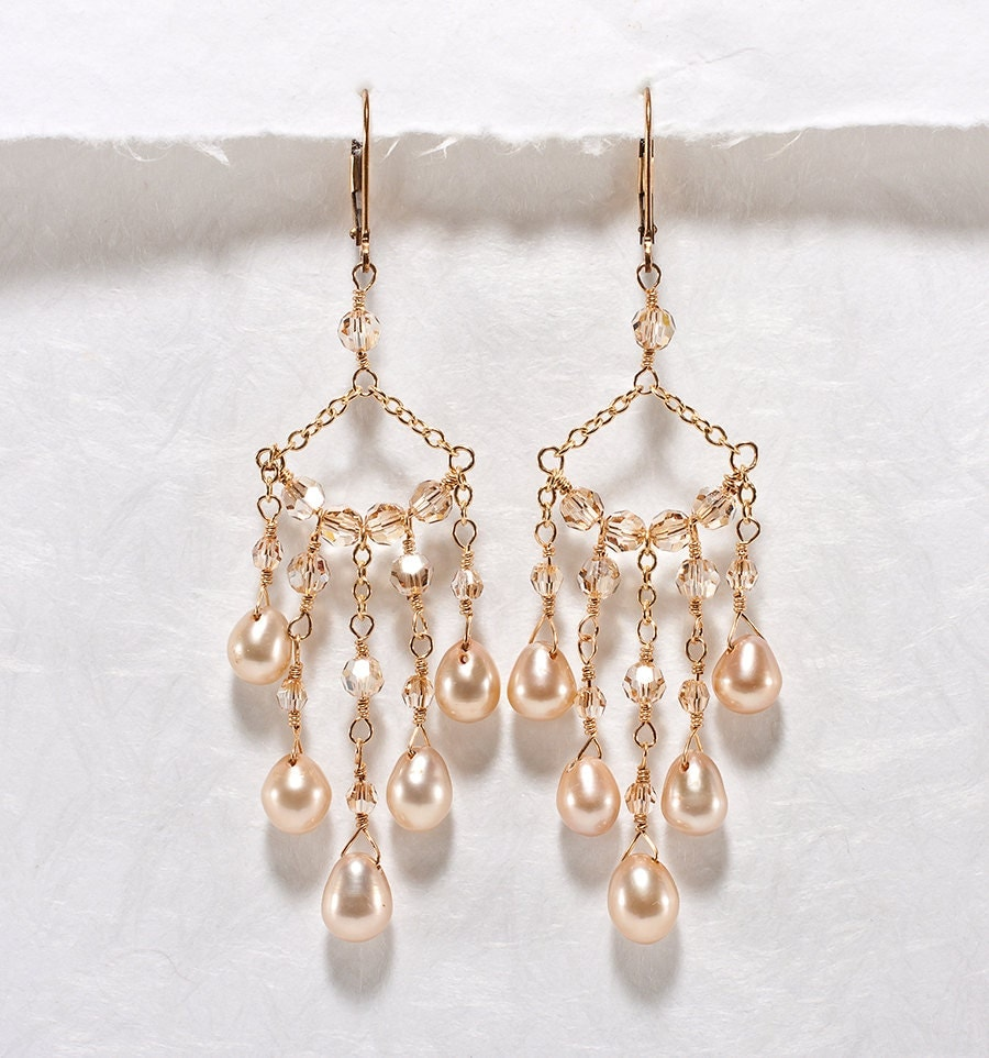 Bridal chandelier earrings champagne wedding jewelry for Jewelry for champagne wedding dress