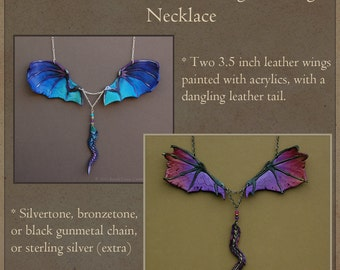 CUSTOM Leather Dragon Wings Necklace with Dangling Tail - Fantasy Pendant