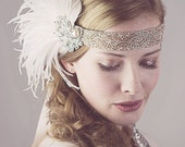 Peaches And Cream Ostrich Feather Flapper Headband Silver And Antique Gold Great Gatsby Style