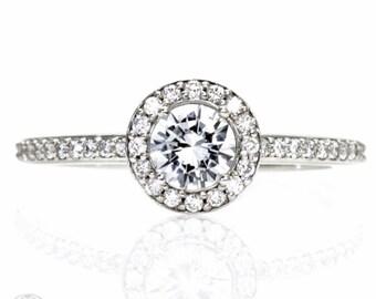 Platinum Diamond Halo Engagement Ring Custom Engagement Ring