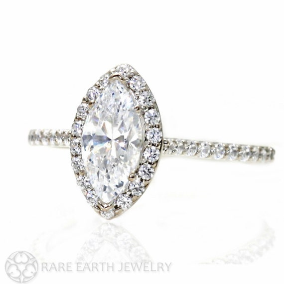 Marquise Moissanite Engagement Ring Diamond Halo Moissanite Ring Conflict Fre