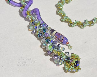 Frog Necklace - Leap of Faith - Frog lampwork and bead encrusted spiral rope