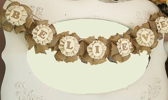 Christmas Decor Burlap Banner Garland Rustic Chic Cottage Chic Shabby Chic Wall Hanging