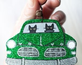 Green Christmas Clay Cat Folk Art Ornament