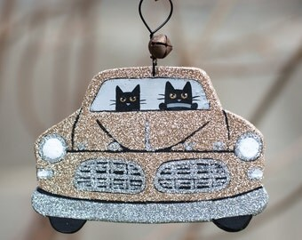 Beige Gold Christmas Clay Cat Folk Art Ornament