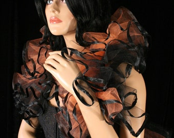 Tulle tie on shoulder shrug wrap orange and black trimmed gothic formal wedding dance bridal steampunk victorian -- Sisters of the Moon